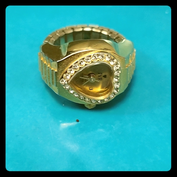 Vintage Gold tone Heart Face Ring Watch